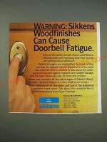 1989 Sikkens Woodfinishes Ad - Warning: Sikkens woodfinishes can cause doorbell