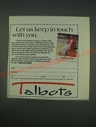 1989 Talbots Fashion Ad - Let us keep in touch with you