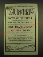 1902 Rock Island and Southern Pacific Railroad Ad - California November First