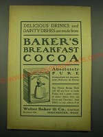 1902 Baker's Breakfast Cocoa Ad - Delicious drinks and dainty dishes