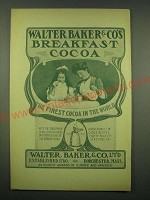 1902 Baker's Breakfast Cocoa Ad - The Finest Cocoa in the World