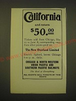 1902 Chicago & North-Western, Union Pacific and Southern Pacific Ad - California