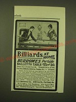 1902 Burrowes Portable Balletto Table Ad - Billiards at home