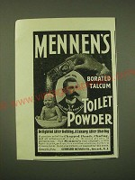 1902 Mennen's Borated Talcum Toilet Powder Ad - delightful after bathing