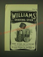 1902 Williams' Shaving Stick Ad - The acme of luxury