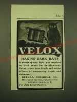 1902 Nepera Chemical Co. Velox Film Ad - Velox has no dark days