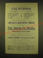 1893 Santa Fe Railroad Ad - This is the time of the Chicago-California Limited
