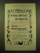 1893 Edison Mimeograph Ad - No matter how fast her fingers fly