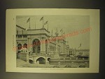 1893 Print of a Photo of World's Fair - Approach to Liberal Arts Building