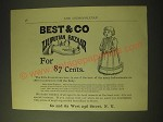 1893 Best & Co Liliputian Bazaar Clothes Ad - for 87 cents