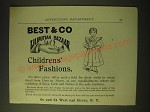 1893 Best & Co Liliputian Bazaar Clothes Ad - Childrens' Fashions