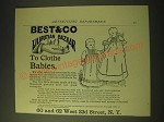 1893 Best & Co Liliputian Bazaar Clothes Ad - to Clothe Babies