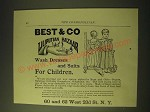 1893 Best & Co Liliputian Bazaar Clothes Ad - Wash Dresses and Suits