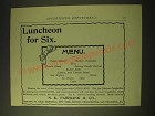 1893 N.K. Fairbank & Co. Cottolene Ad - Luncheon for Six