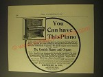 1893 Cornish & Co. Pianos and Organs Ad - You can have this piano