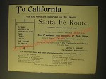 1893 Santa Fe Railroad Ad - To California via the greatest railroad
