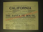 1893 Santa Fe Railroad Ad - California