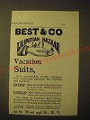 1893 Best & Co Liliputian Bazaar Clothes Ad - Vacation Suits