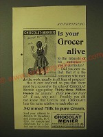 1893 Chocolat Menier Ad - Is your Grocer alive