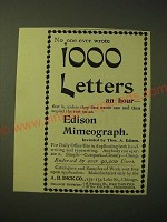 1893 A.B. Dick Edison Mimeograph Ad - no one ever wrote 1000 letters an hour