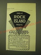1893 great Rock island Route Ad - Great Rock Island route to California