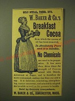 1893 W. Baker & Co. Breakfast Cocoa Ad - Gold Medal, Paris 1878