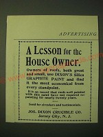 1893 Dixon's Silica Graphite Paint Ad - A lesson for the house owner