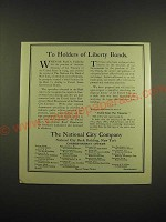 1918 The National City Company Ad - To holders of Liberty Bonds