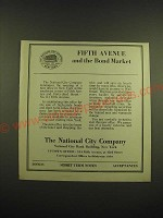 1918 The National City Company Ad - Fifth avenue and the bond market