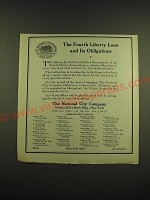 1918 The National City Company Ad - The Fourth Liberty Loan and its Obligations