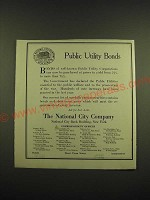 1918 The National City Company Ad - Public Utility Bonds