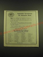 1918 The National City Company Ad - September Investments on Attractive Basis