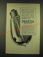 1918 General Electric Mazda light bulb Ad - What lies back of the brilliance
