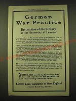 1918 Liberty Loan Committee of New England Ad - German War Practice destruction