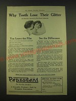 1918 Pepsodent Toothpaste Ad - Why teeth lose their glitter