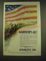 1918 Indian Refining Company Havoline Oil Ad - Warriors All