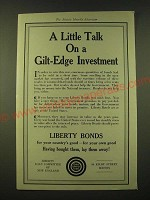 1918 Liberty Loan Committee of New England Ad - A little talk on a gilt-edge