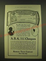 1918 Bankers Trust Company American Bankers Association Cheques Ad - Provide