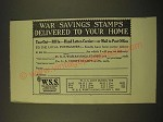 1918 War Savings Stamps Ad - War Savings Stamps delivered to your home