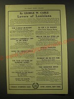 1918 Charles Scribner's Sons Ad - By George W. Cable Lovers of Louisiana