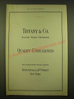 1924 Tiffany & Co. Ad - Jewelry Pearls Silverware Quality - Unqualified