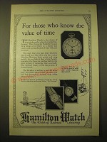 1924 Hamilton Watches Ad - For those who know the value of time