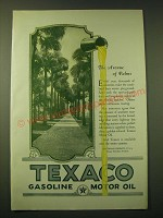 1924 Texaco Motor Oil Ad - The avenue of palms