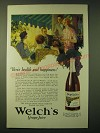 1924 Welch's Grape Juice Ad - Here's health and happiness