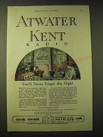 1924 Atwater Kent Radio Ad - You'll never forget the night