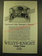 1924 Willys-Knight Coupe-Sedan Standard Ad - Powered like Europe's Finest