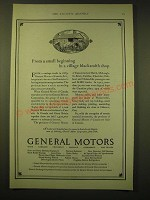 1924 General Motors Ad - From a small beginning in a village blacksmith shop