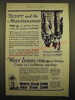 1924 White Star Line Red Star Line Ad - Egypt and the Mediterranean