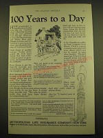 1924 Metropolitan Life Insurance Ad - 100 years to a day