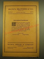 1924 Brown, Shipley & Company Ad - International Investments